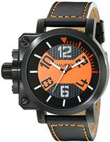 Haurex Italy Men's 6N508UON Gun Analog Display Quartz Black Watch