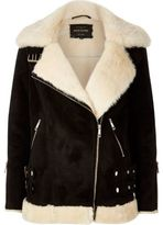 River Island Womens Black shearling aviator jacket