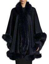 Bergdorf Goodman Fox-Fur-Trim Cashmere Cape, Navy