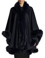 Sofia Cashmere Fox-Fur-Trim Cashmere Cape, Navy