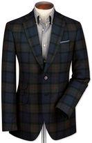Slim Fit Blue Checkered Luxury Border Tweed Wool Jacket Size 36