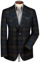 Slim Fit Blue Checkered Luxury Border Tweed Wool Jacket Size 44 By Charles Tyrwhitt