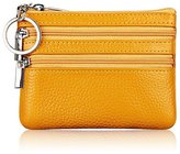 ETIAL Womens Cowhide Leather Dual Zipper Coin Change Purse Key Ring
