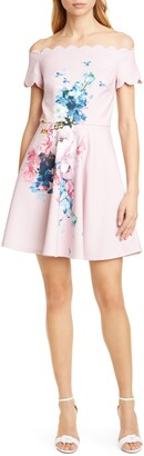 Ted Baker Raspberry Floral Scallop Off the Shoulder Skater Dress