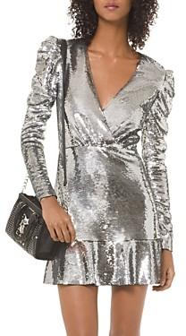 MICHAEL Michael Kors Sequined Puff-Sleeve Mini Dress