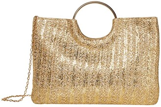 Jessica McClintock Sonia (Gold Straw) Clutch Handbags