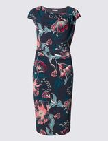 Marks and Spencer Floral Print Lined Cap Sleeve Bodycon Dress