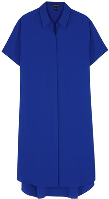 Eileen Fisher Cobalt Blue Silk-georgette Shirt Dress