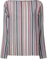 Theory boat neck striped blouse - women - Silk - S