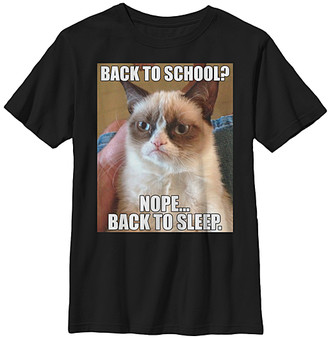Fifth Sun Boys' Tee Shirts BLACK - Grumpy Cat 'Back to School? Nope... Back to Sleep' Tee - Boys