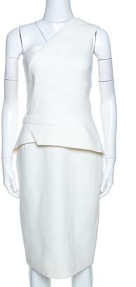 Roland Mouret Off White Wool Lyford One Shoulder Dress L