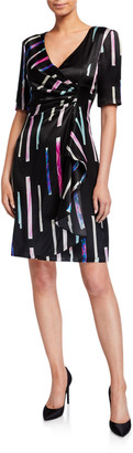 Emporio Armani Watercolor Tile Print Faux-Wrap Dress