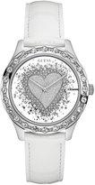GUESS Women's and Silver-Tone Glitter Heart Watch