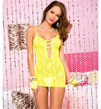Music Legs 56118-NGREEN Rose Lace Dress with Cutout Front, Neon Green