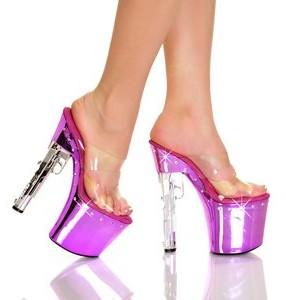 "The Highest Heel Magnum Series Sandals with Diamond Drilled Bottom and 7.5"" Gun-Look Heel Platform"
