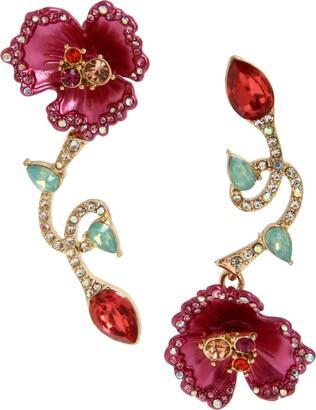 Betsey Johnson Women's Floral Mismatch Earrings