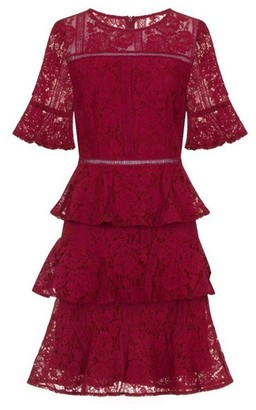 Dorothy Perkins Womens Girls On Film Burgundy Fit And Flare Dress, Burgundy