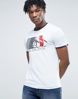 Original Penguin Logo Ringer T-shirt Slim Fit In Sky Blue