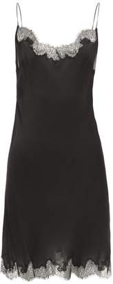 Carine Gilson Lace Trimmed Silk Chemise - Womens - Black