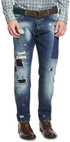 Kiton Distressed Straight-Leg Jeans, Blue