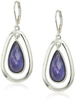 Anne Klein Silver-Tone and Purple Leverback Drop Earrings