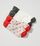 LOFT Heart Stripe & Colorblock No Show Sock Set