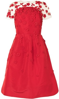 Oscar de la Renta Floral-Detail Sheer-Panel Midi-Dress