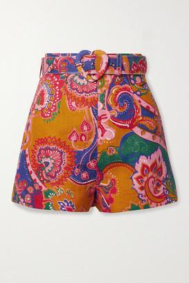 Zimmermann The Lovestruck Belted Paisley-printed Linen Shorts - Mustard
