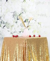 """B-COOL 50""""x50"""" Sparkly banquet tablecloth Drape Ceremony tablecloth Sequin Shimmer Fabric gold"""