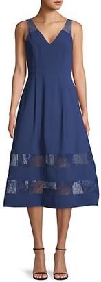 Aidan Mattox Lace-Trim Midi Flare Dress