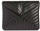Saint Laurent Large Loulou Matelasse Leather Pouch - Black