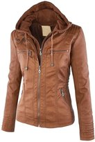 Tanming Women's Womens Hooded Faux leather Jackets