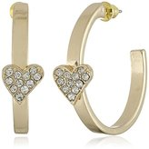Kensie Post with Pave Heart Hoop Earrings