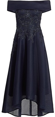 Teri Jon by Rickie Freeman Off-The-Shoulder High-Low Cocktail Dress