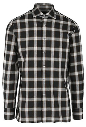 Dunhill Plaid Woven Button-Up Shirt