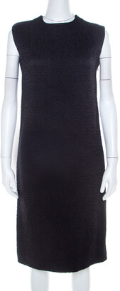 Bottega Veneta Black Textured Wool Sleeveless Shift Dress S