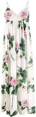 Dolce & Gabbana Tropical Rose Print Maxi Dress