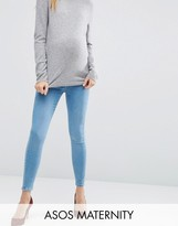Asos Ridley Skinny Jeans In Anais Wash With Under The Bump Waistband