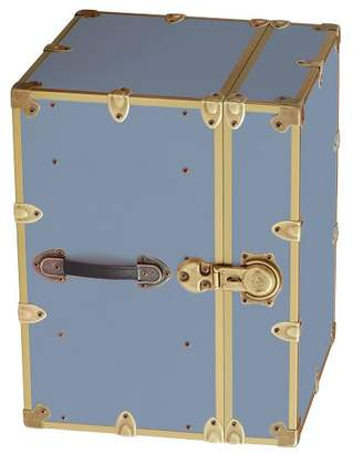 Pottery Barn Teen Canvas Dorm Trunk with Rubbed Brass Trim, Bedside, Sky