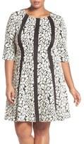 Gabby Skye Floral Jacquard Fit & Flare Dress (Plus Size)