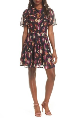 Adelyn Rae Morrigan Flutter Sleeve Chiffon Dress