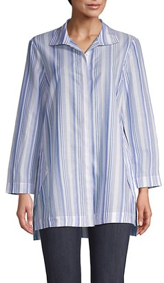 Lafayette 148 New York Striped Cotton Shirt