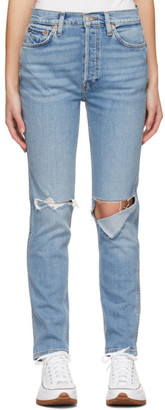 RE/DONE Blue 80s Slim Straight Jeans
