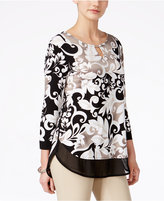 JM Collection Petite Layered-Look Three-Quarter-Sleeve Printed Blouse, Only at Macy's