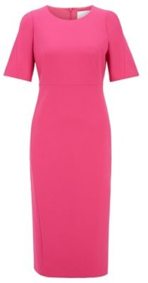 HUGO BOSS Midi Length Dress In Double Faced Portuguese Stretch Fabric - Pink