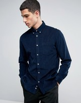 Celio Long Sleeve Slim Fit Shirt in Baby Cord Cotton
