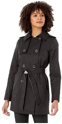 Sam Edelman Double Breasted Trench w/ Stripe Detail Belt (Black) Women's Coat