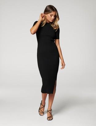 Forever New Yazmin Rib Tee Midi Knit Dress - Black - 4