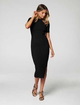 Forever New Yazmin Rib Tee Midi Knit Dress - Black - 6