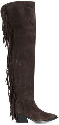 A.F.Vandevorst fringed thigh-length boots